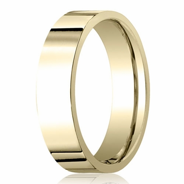Benchmark 6mm 18K Yellow Gold Flat Comfort Fit Wedding Band