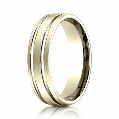 Benchmark 6mm 18K Yellow Gold Ring with Parallel Grooves