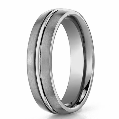 Benchmark 6mm Brushed Titanium Ring with Polished Center Groove
