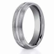 Benchmark 6mm Brushed Tungsten Ring with Center Groove