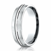 Benchmark 6mm Dual Finish 10K White Gold Ring