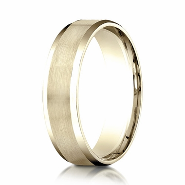 Benchmark 6mm Dual Finish 10K Yellow Gold Ring with Beveled Edges