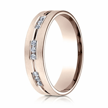 Benchmark 6mm Dual Finish 14K Rose Gold 18-Stone Eternity Diamond Ring