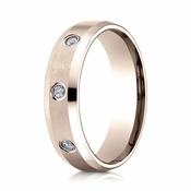 Benchmark 6mm Dual Finish 14K Rose Gold 3-Stone Eternity Diamond Ring