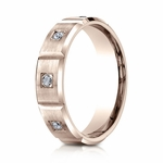 Benchmark 6mm Dual Finish 14K Rose Gold 6-Stone Eternity Diamond Ring