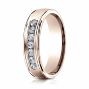 Benchmark 6mm Dual Finish 14K Rose Gold 7-Stone Eternity Diamond Ring