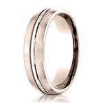 Benchmark 6mm Dual Finish 14K Rose Gold Ring