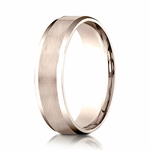 Benchmark 6mm Dual Finish 14K Rose Gold Ring with Beveled Edges