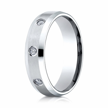 Benchmark 6mm Dual Finish 14K White Gold 3-Stone Eternity Diamond Ring