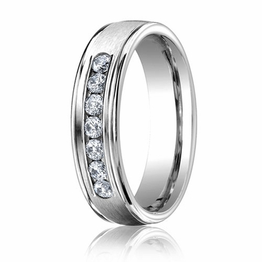 Benchmark 6mm Dual Finish 14K White Gold 7-Stone Eternity Diamond Ring