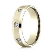 Benchmark 6mm Dual Finish 14K Yellow Gold 3-Stone Eternity Diamond Ring