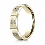 Benchmark 6mm Dual Finish 14K Yellow Gold 6-Stone Eternity Diamond Ring