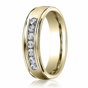 Benchmark 6mm Dual Finish 14K Yellow Gold 7-Stone Eternity Diamond Ring