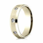 Benchmark 6mm Dual Finish 14K Yellow Gold 8-Stone Eternity Diamond Ring