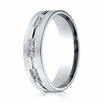 Benchmark 6mm Dual Finish 18K White Gold 18-Stone Eternity Diamond Ring