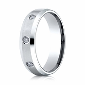 Benchmark 6mm Dual Finish 18K White Gold 3-Stone Eternity Diamond Ring