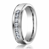 Benchmark 6mm Dual Finish 18K White Gold 7-Stone Eternity Diamond Ring