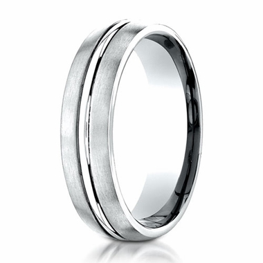 Benchmark 6mm Dual Finish 18K White Gold Ring