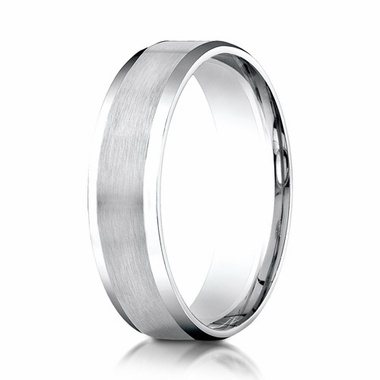 Benchmark 6mm Dual Finish 18K White Gold Ring with Beveled Edges
