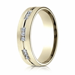 Benchmark 6mm Dual Finish 18K Yellow Gold 18-Stone Eternity Diamond Ring