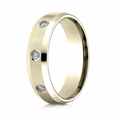 Benchmark 6mm Dual Finish 18K Yellow Gold 3-Stone Eternity Diamond Ring