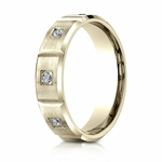 Benchmark 6mm Dual Finish 18K Yellow Gold 6-Stone Eternity Diamond Ring