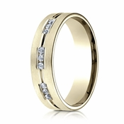 Benchmark 6mm Dual Finish 18K Yellow Gold 9-Stone Eternity Diamond Ring