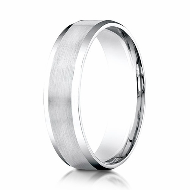 Benchmark 6mm Dual Finish Platinum Ring with Beveled Edges