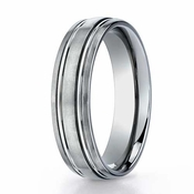 Benchmark 6mm Dual Finish Titanium Ring with Grooves