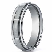 Benchmark 6mm Dual Finish Titanium Ring with Sectional Design