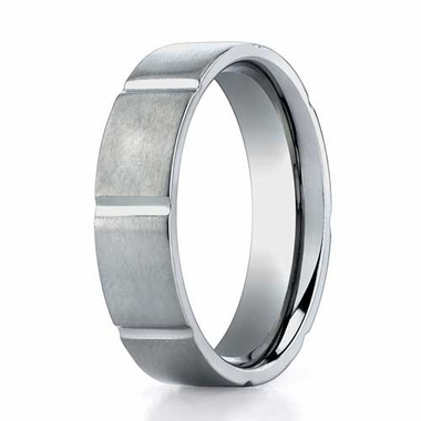 Benchmark 6mm Dual Finish Titanium Ring with Vertical Cuts
