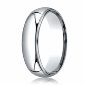 Benchmark 6mm Platinum Super Light Comfort Fit Ring with Milgrain