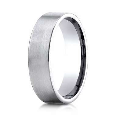 Benchmark 6mm Satin 18K White Gold Ring