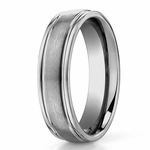 Benchmark 6mm Titanium Dual Finish Band with Stepped Edges