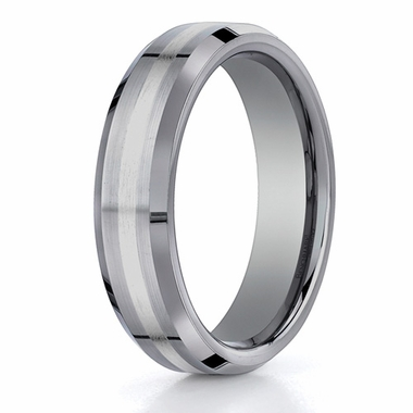 Benchmark 6mm Tungsten Ring with 18K White Gold Inlay and Beveled Edges