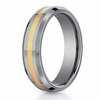 Benchmark 6mm Tungsten with 18K Yellow Gold Ring Inlay and Beveled Edges