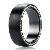 Benchmark 7.5mm Black Titanium Ring with Silver Rope Edging