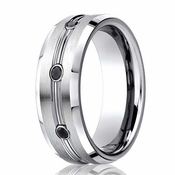 Benchmark 7.5mm Comfort Fit Cobalt Ring with Black Diamonds