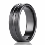 Benchmark 7.5mm Dual Finish Black Titanium Ring with Groove