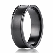 Benchmark 7.5mm Dual Finish Concave Black Titanium Ring