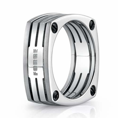 Benchmark 7.5mm Dual Finish Square Titanium Ring with Cut-Through Slots