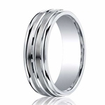 Benchmark 7mm ARGO Silver Comfort Fit Ring with Double Groove