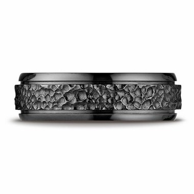 Benchmark 7mm Black Titanium Ring with Hammered Center