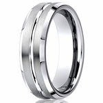 Benchmark 7mm Brushed Cobalt Chrome Ring with Polished Groove and Beveled Edges