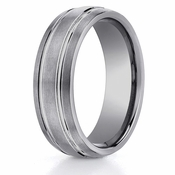 Benchmark 7mm Brushed Tungsten Ring with Double Grooves