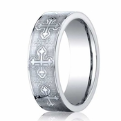 Benchmark 7mm Comfort Fit Cobalt Ring with Cross Design