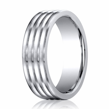 Benchmark 7mm Comfort Fit Cobalt Ring with Rolls