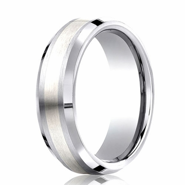 Benchmark 7mm Comfort Fit Cobaltchrome Ring with Silver Inlay