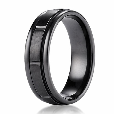 Benchmark 7mm Dual Finish Black Titanium Ring with Vertical Cuts