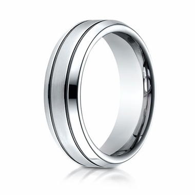 Benchmark 7mm Dual Finish Cobalt Chrome Ring with Parallel Grooves